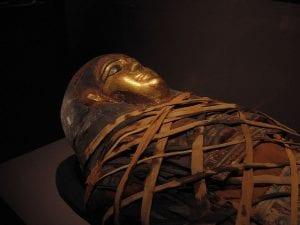 Mummy inside sarcophagus